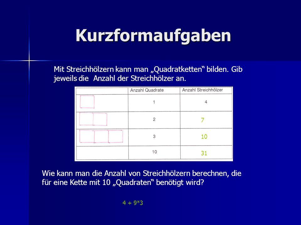 """KurzformaufgabenMit Streichhölzern kann man """"Quadratketten bilden. Gib jeweils die Anzahl der Streichhölzer an."""