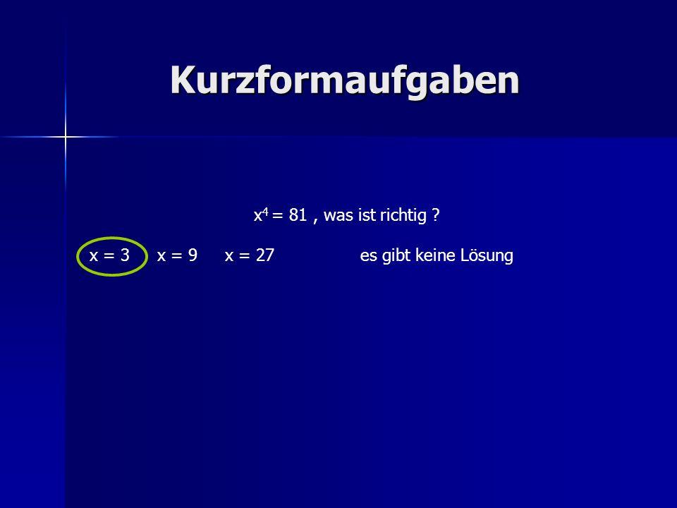 Kurzformaufgaben x4 = 81 , was ist richtig