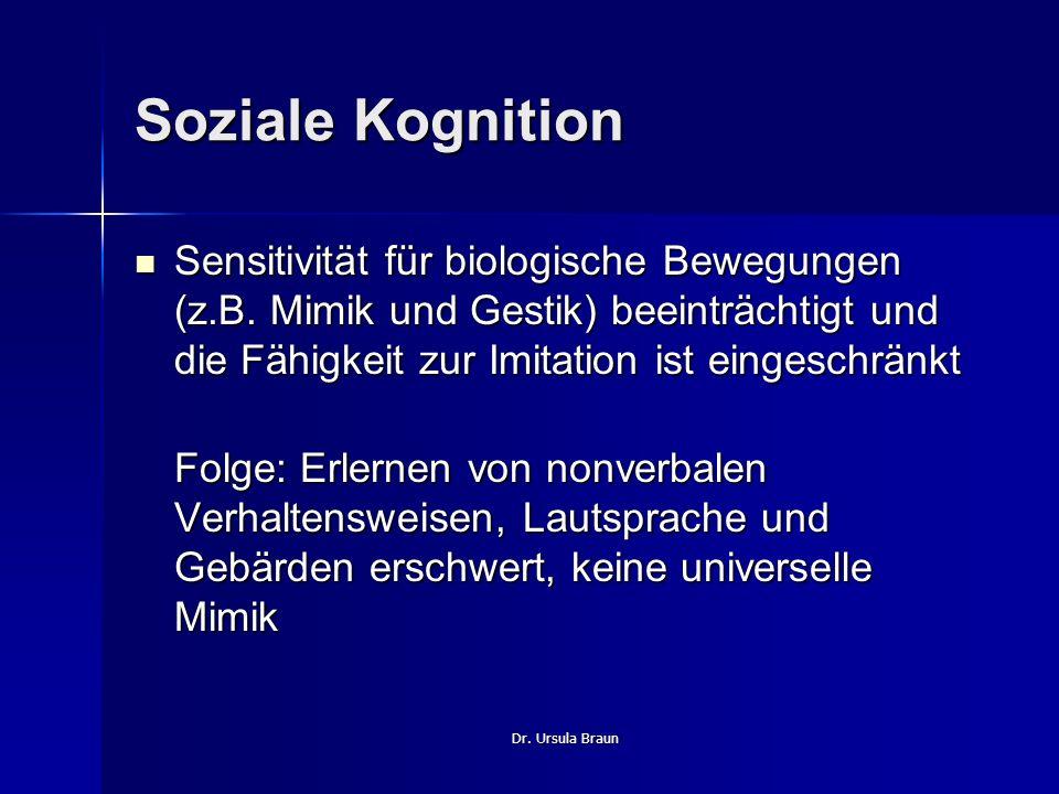 Soziale Kognition Sensitivität für biologische Bewegungen (z.B. Mimik und Gestik) beeinträchtigt und die Fähigkeit zur Imitation ist eingeschränkt.