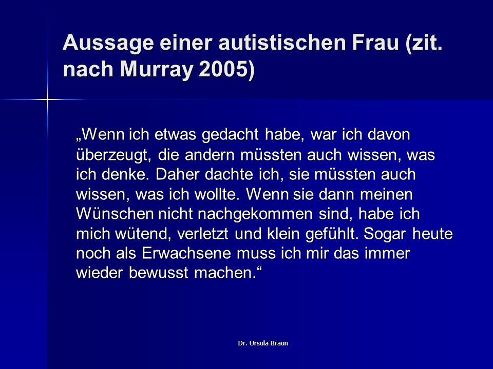 Aussage einer autistischen Frau (zit. nach Murray 2005)