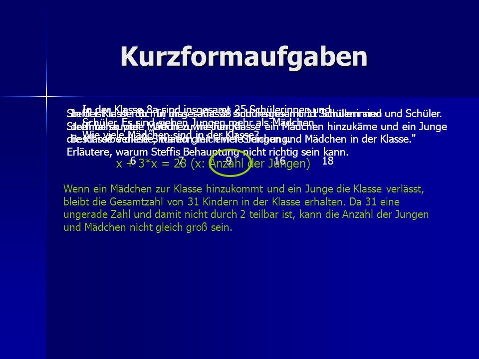 Kurzformaufgaben x + 3*x = 28 (x: Anzahl der Jungen)