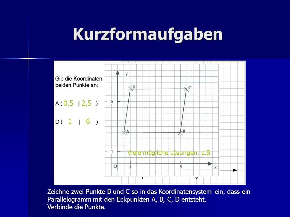 Kurzformaufgaben 0,5 2,5 1 6 Viele mögliche Lösungen, z.B.
