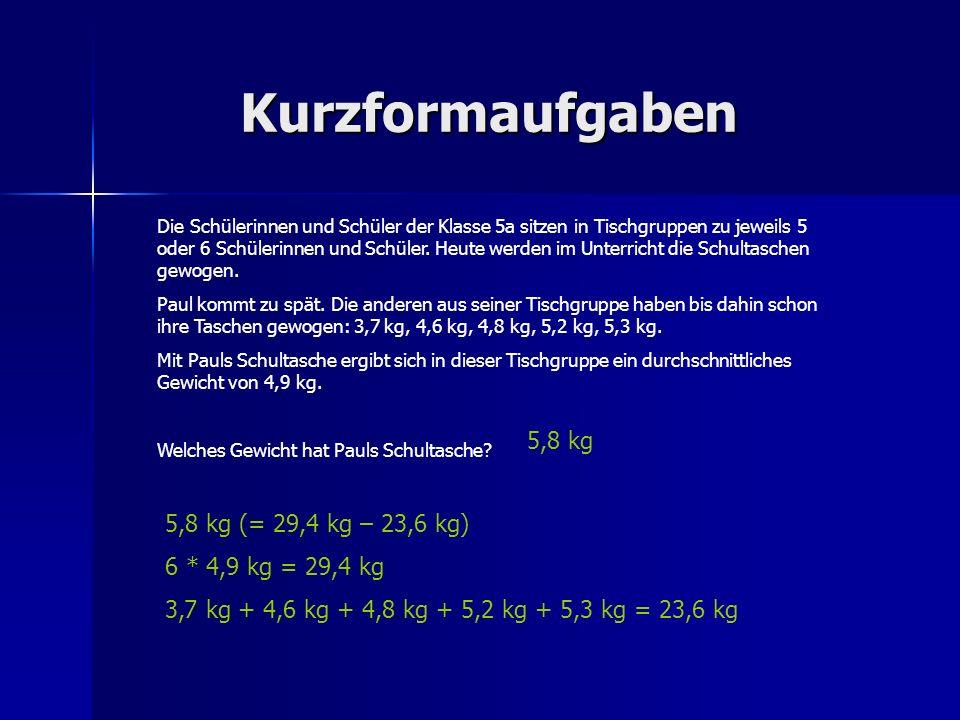Kurzformaufgaben 5,8 kg 5,8 kg (= 29,4 kg – 23,6 kg)