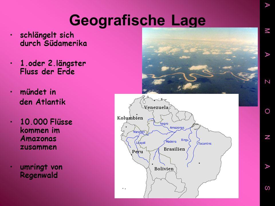 Geografische Lage schlängelt sich durch Südamerika