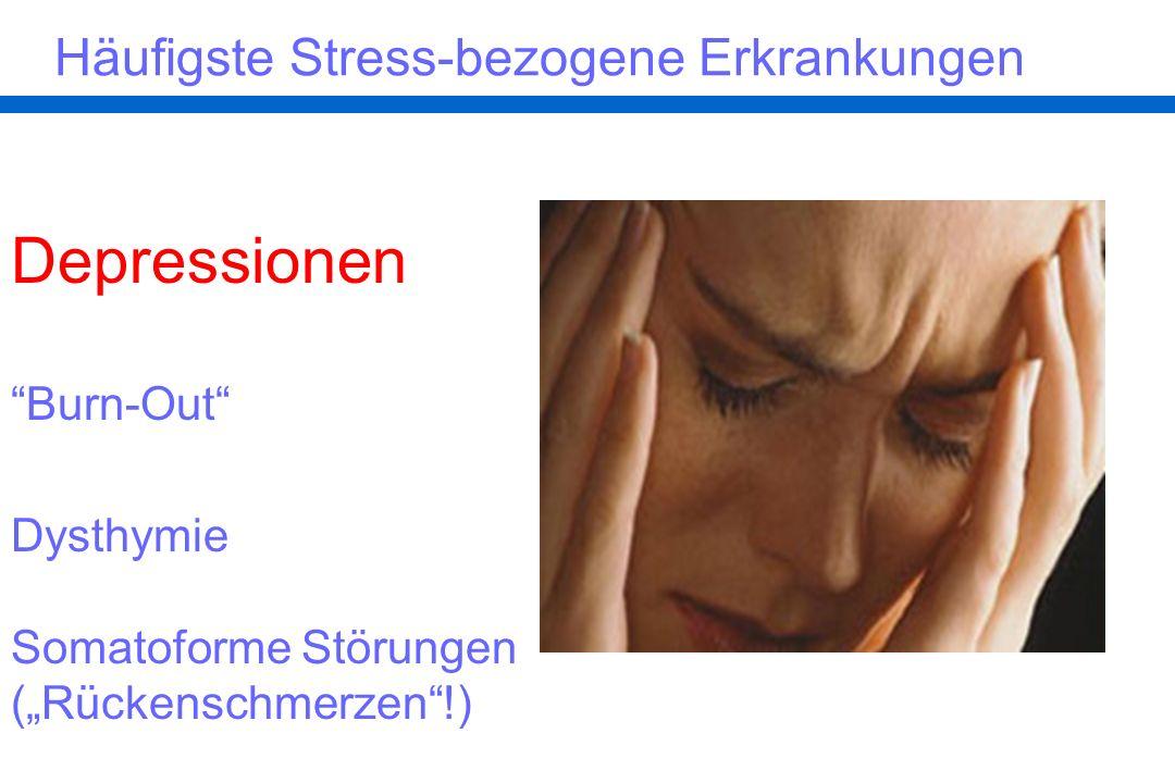 Depressionen Häufigste Stress-bezogene Erkrankungen Burn-Out