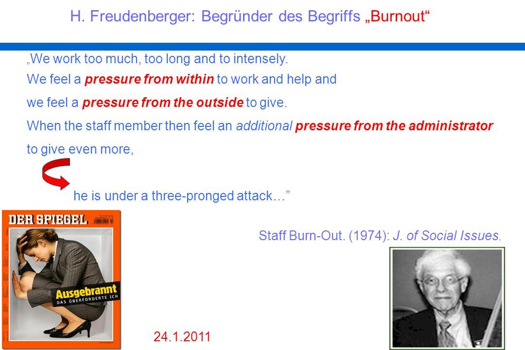 """H. Freudenberger: Begründer des Begriffs """"Burnout"""