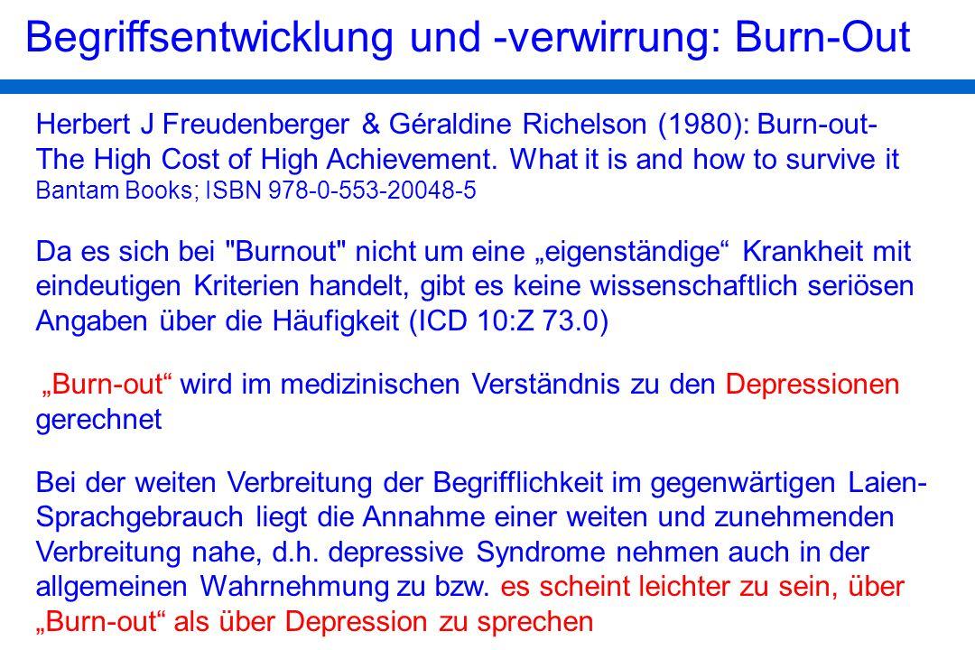 Begriffsentwicklung und -verwirrung: Burn-Out