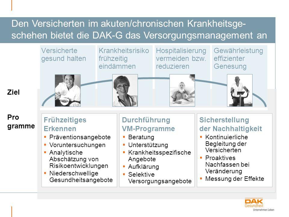 + Den Versicherten im akuten/chronischen Krankheitsge- schehen bietet die DAK-G das Versorgungsmanagement an.