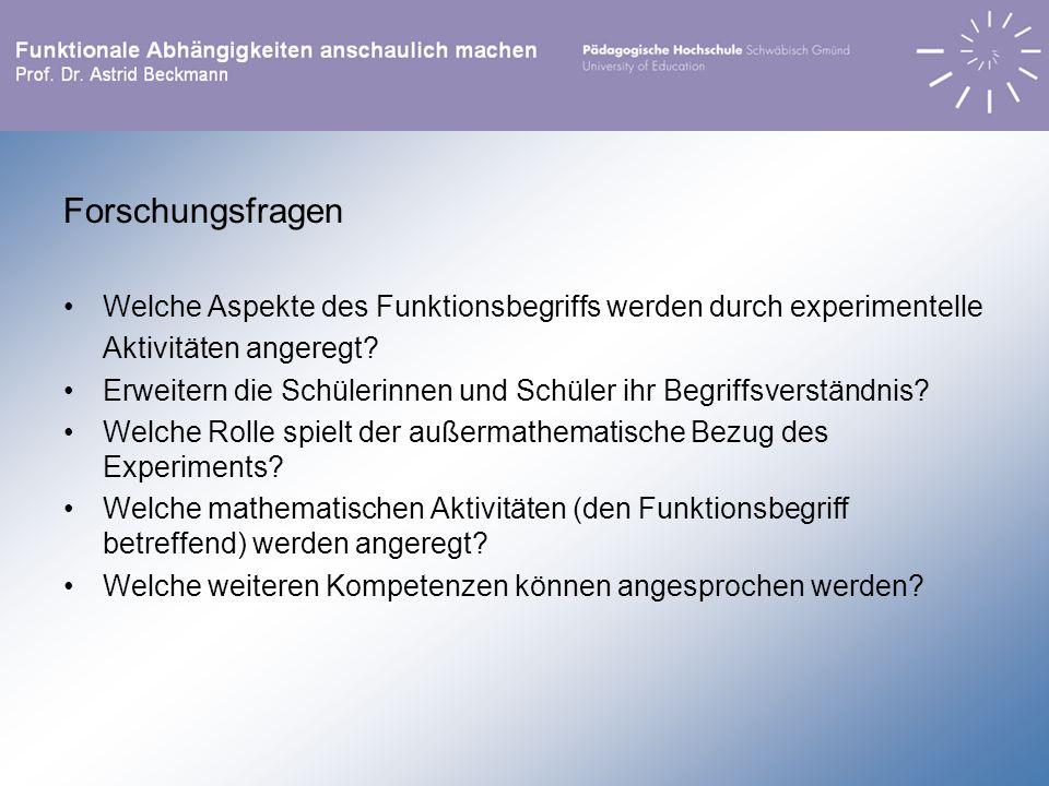 Forschungsfragen Welche Aspekte des Funktionsbegriffs werden durch experimentelle. Aktivitäten angeregt