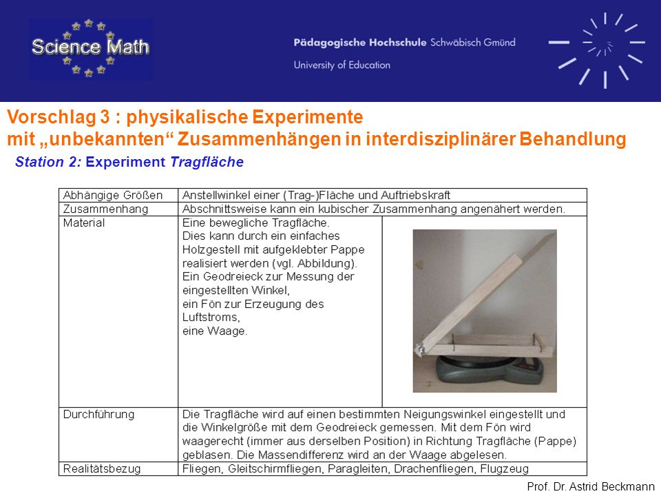 Vorschlag 3 : physikalische Experimente