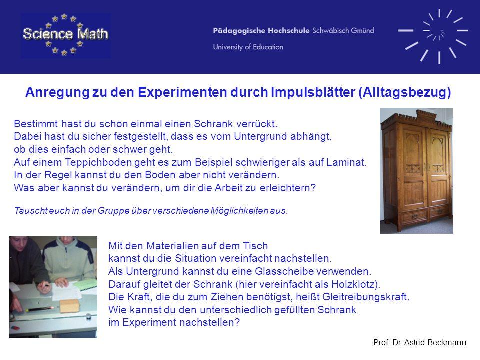 Anregung zu den Experimenten durch Impulsblätter (Alltagsbezug)