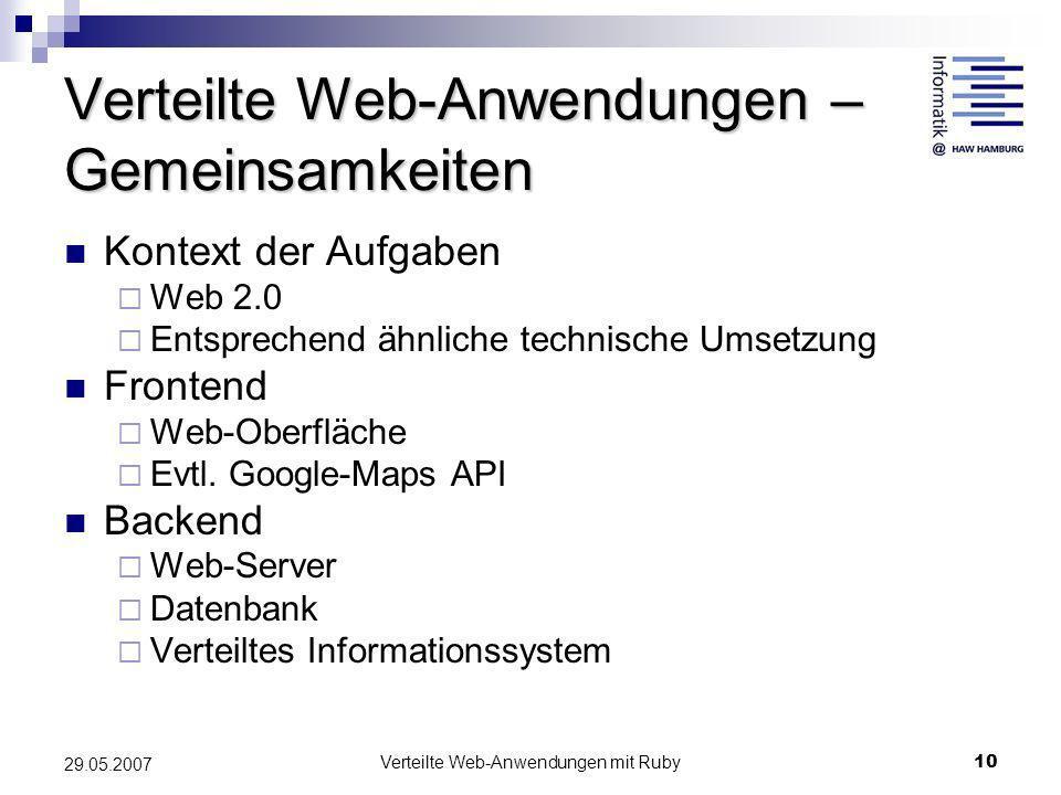 Verteilte Web-Anwendungen – Gemeinsamkeiten