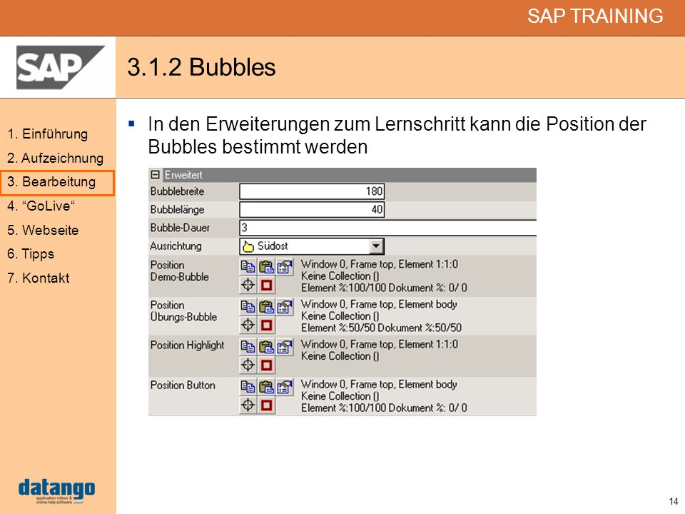 3.1.2 Bubbles In den Erweiterungen zum Lernschritt kann die Position der Bubbles bestimmt werden