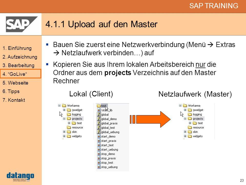 4.1.1 Upload auf den Master Lokal (Client) Netzlaufwerk (Master)
