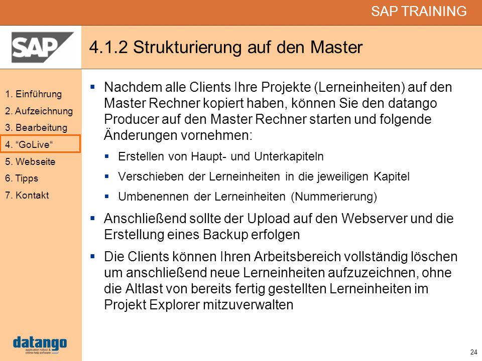 4.1.2 Strukturierung auf den Master