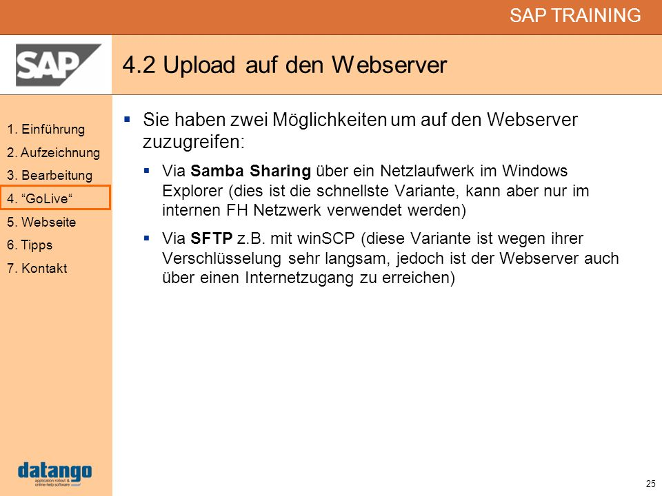 4.2 Upload auf den Webserver