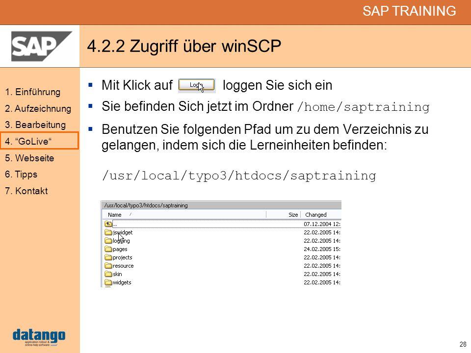 4.2.2 Zugriff über winSCP Mit Klick auf loggen Sie sich ein