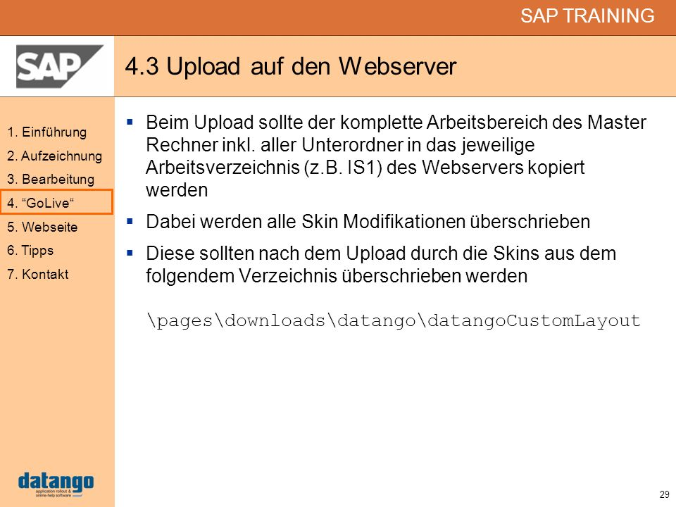 4.3 Upload auf den Webserver