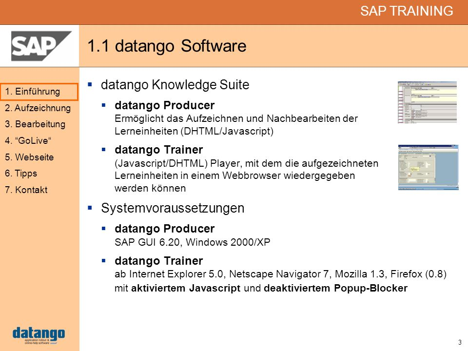 1.1 datango Software datango Knowledge Suite Systemvoraussetzungen