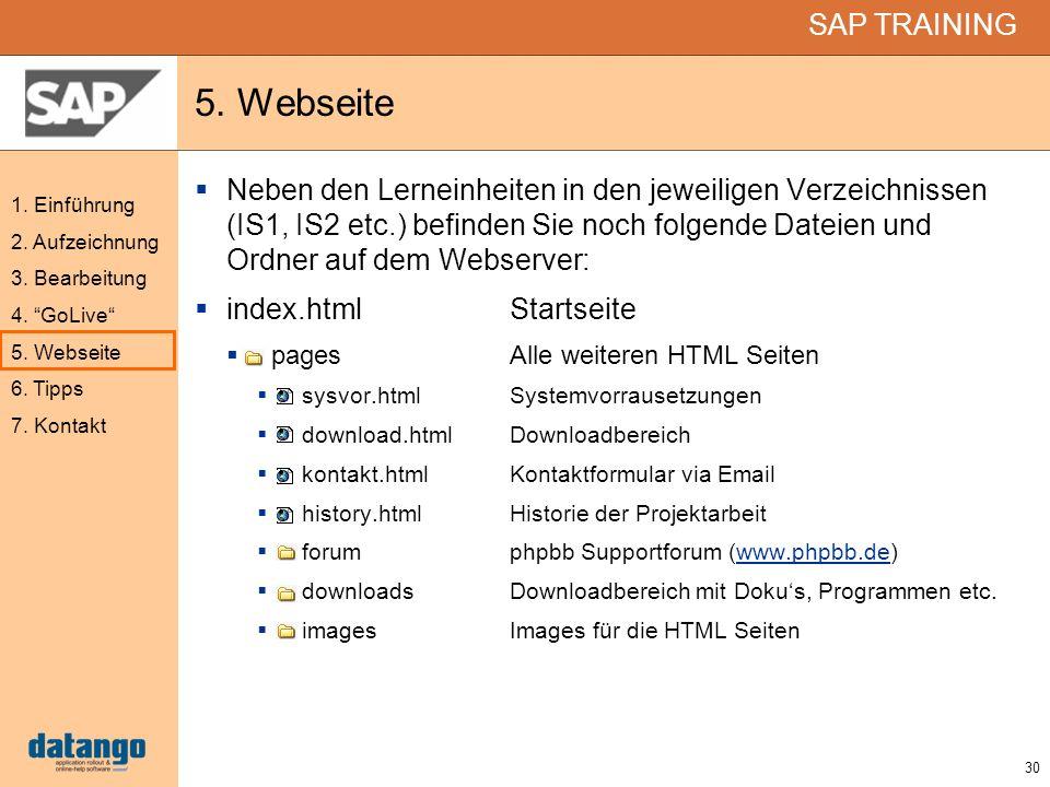 5. Webseite Neben den Lerneinheiten in den jeweiligen Verzeichnissen (IS1, IS2 etc.) befinden Sie noch folgende Dateien und Ordner auf dem Webserver: