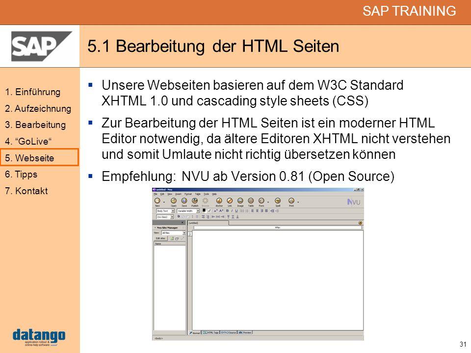 5.1 Bearbeitung der HTML Seiten