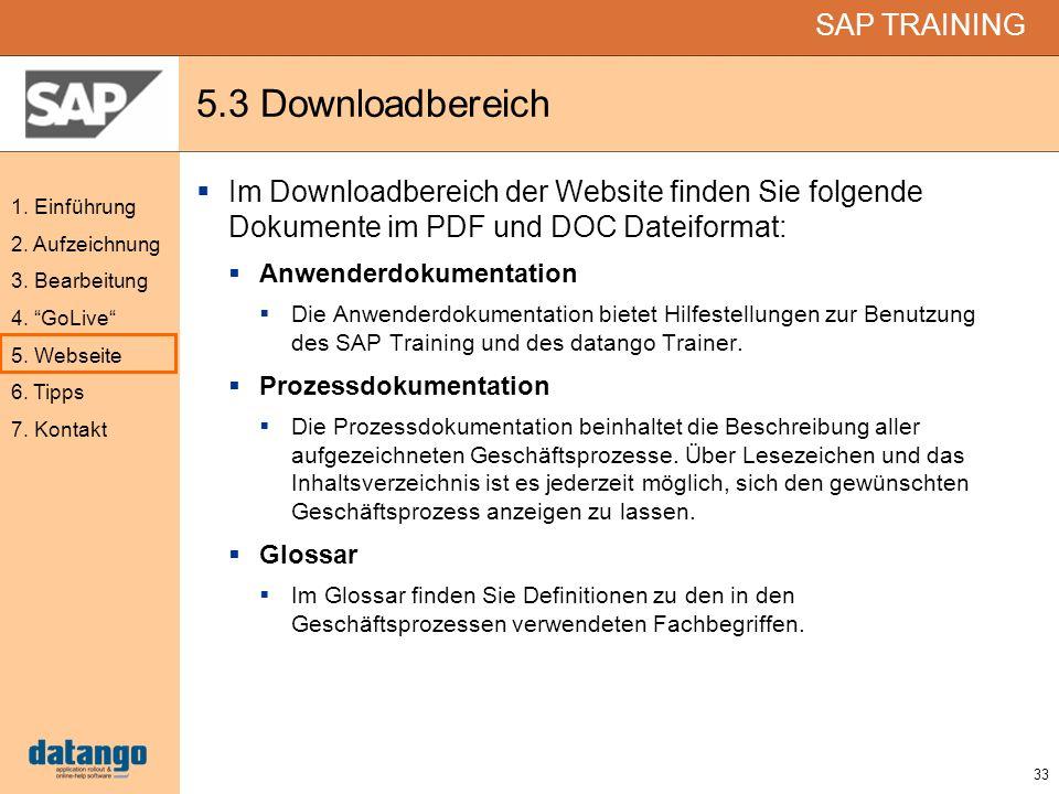 5.3 Downloadbereich Im Downloadbereich der Website finden Sie folgende Dokumente im PDF und DOC Dateiformat: