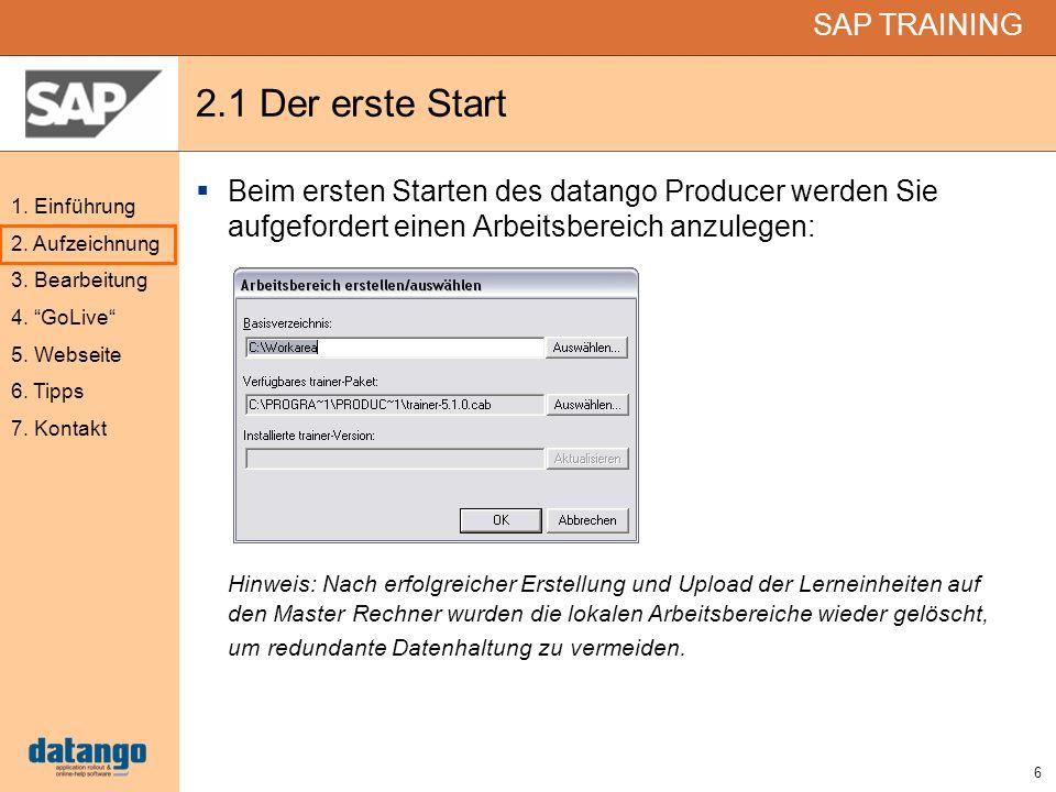 2.1 Der erste StartBeim ersten Starten des datango Producer werden Sie aufgefordert einen Arbeitsbereich anzulegen: