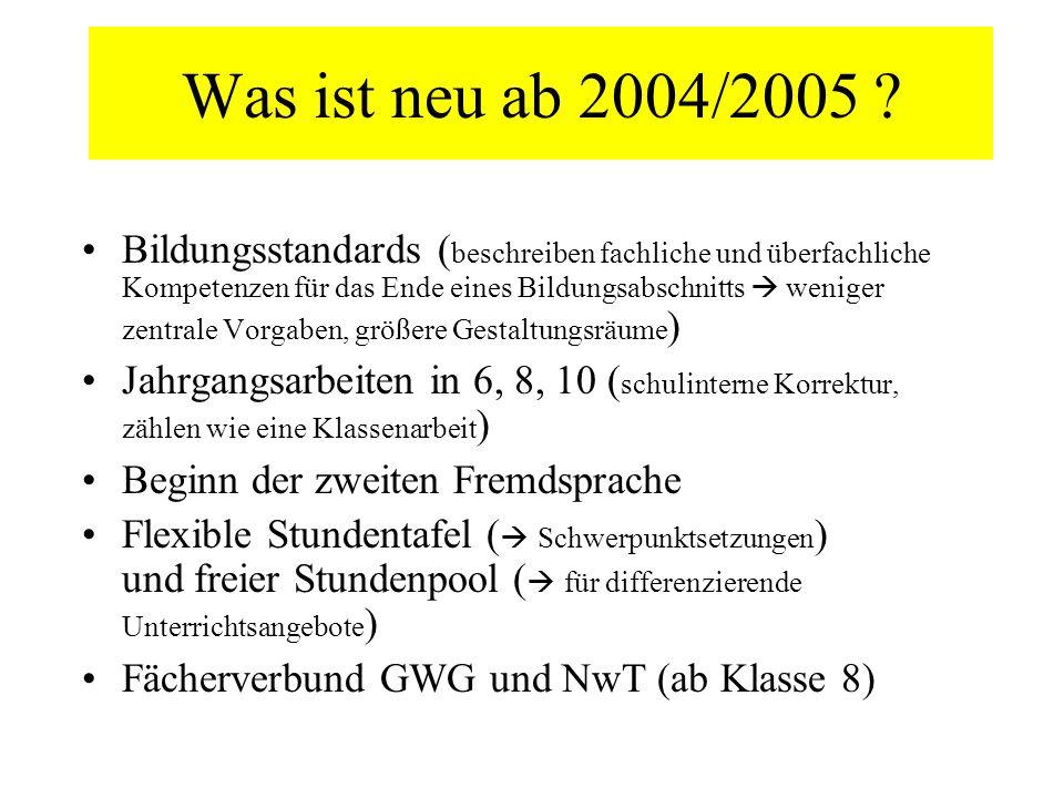 Was ist neu ab 2004/2005