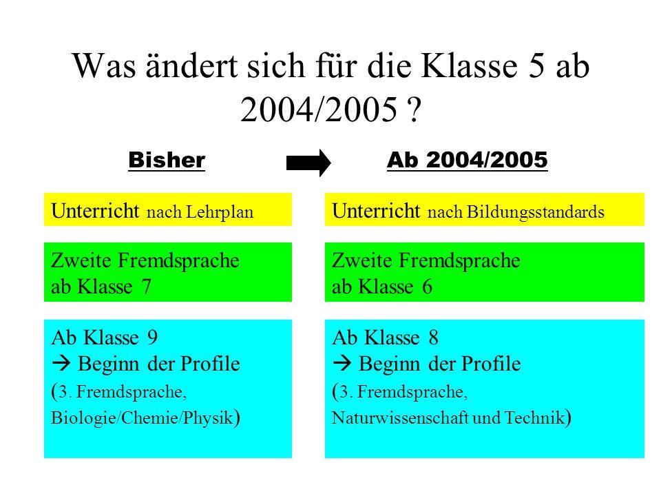 Was ändert sich für die Klasse 5 ab 2004/2005