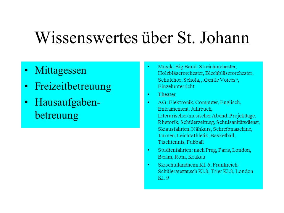 Wissenswertes über St. Johann