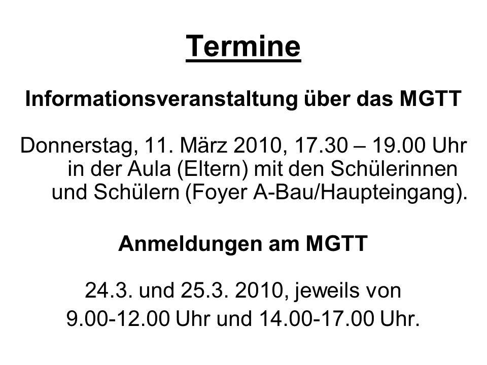 Informationsveranstaltung über das MGTT
