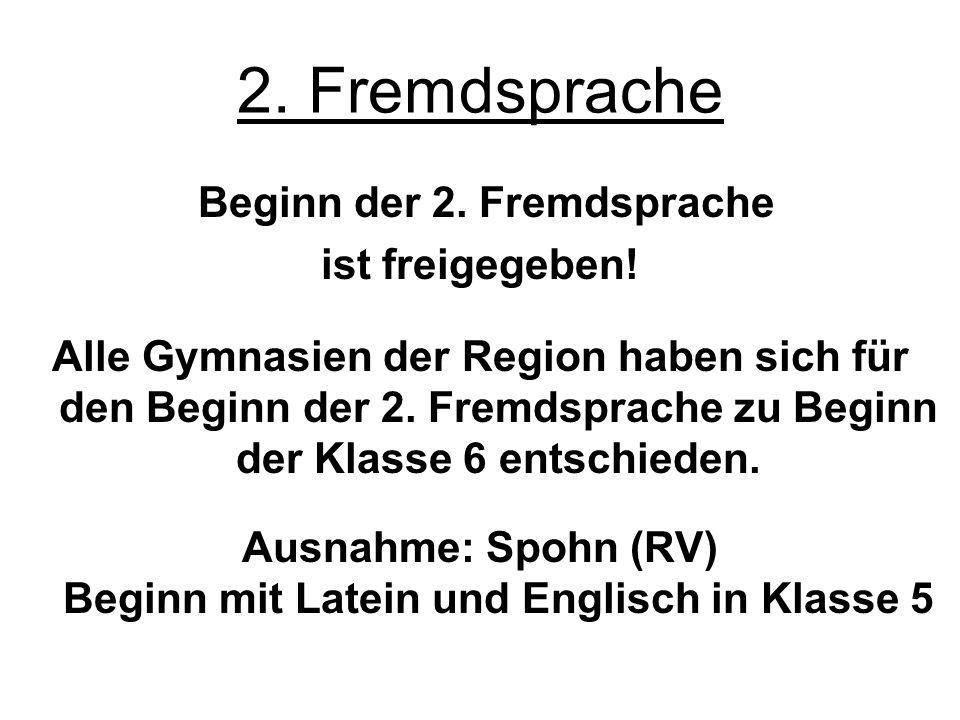Ausnahme: Spohn (RV) Beginn mit Latein und Englisch in Klasse 5