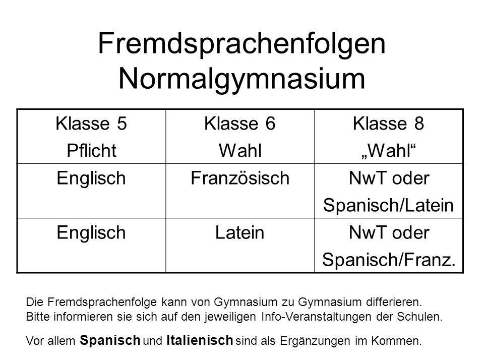 Fremdsprachenfolgen Normalgymnasium