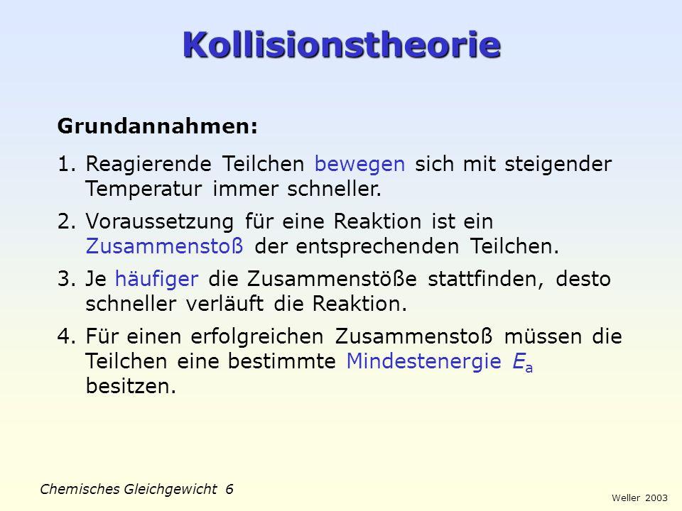 Kollisionstheorie Grundannahmen: