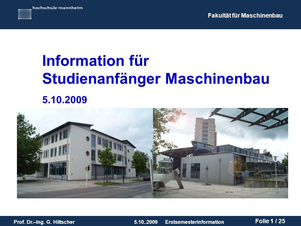 Information für Studienanfänger Maschinenbau