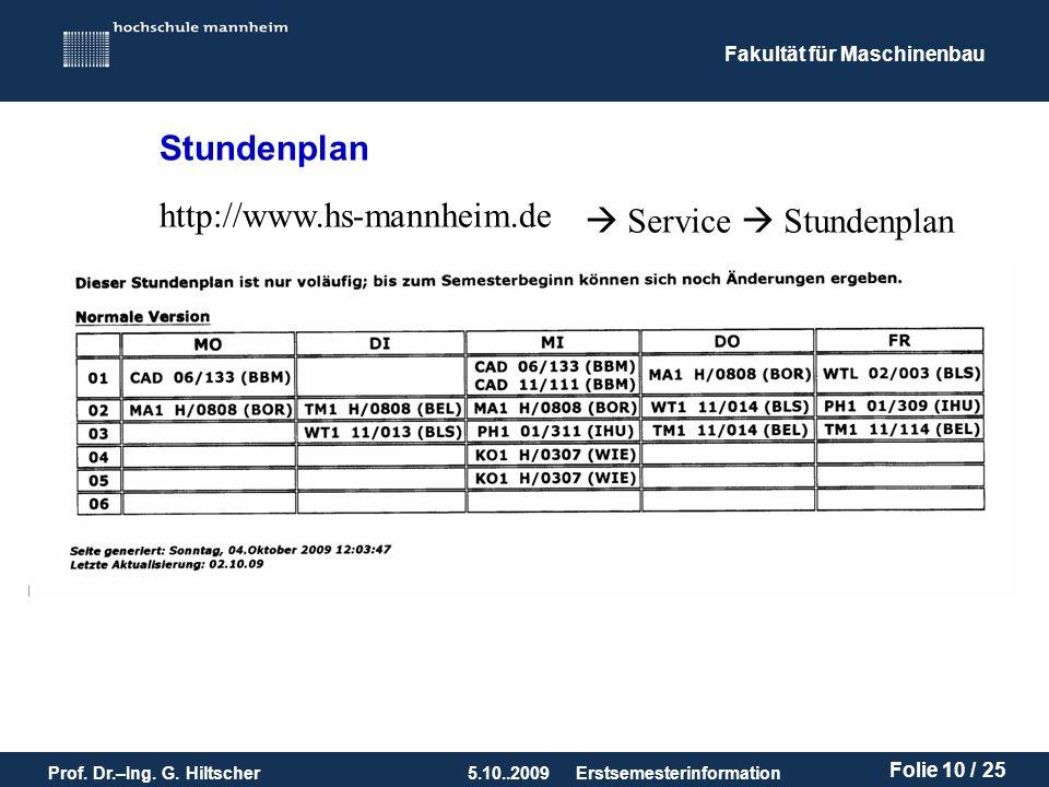 Stundenplan http://www.hs-mannheim.de  Service  Stundenplan