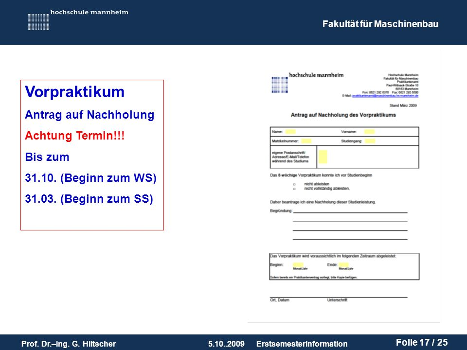 Vorpraktikum Antrag auf Nachholung Achtung Termin!!! Bis zum