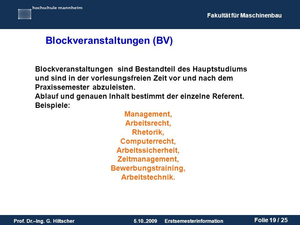 Blockveranstaltungen (BV)