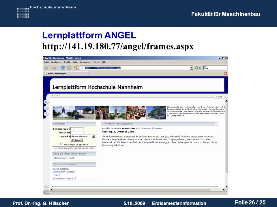 Lernplattform ANGEL http://141.19.180.77/angel/frames.aspx