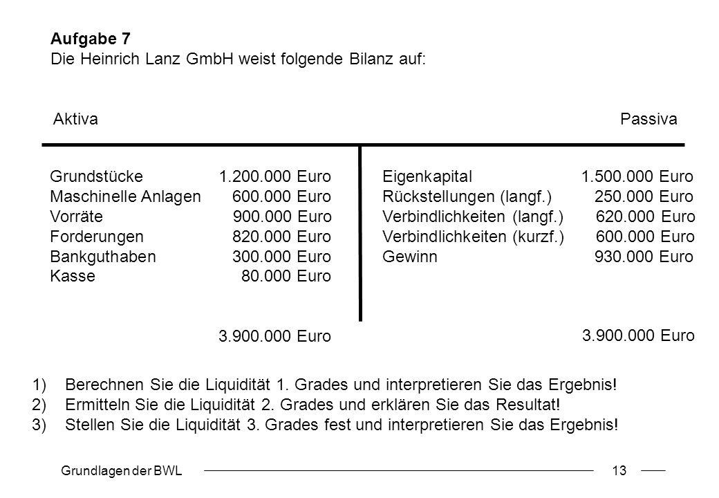 Aufgabe 7 Die Heinrich Lanz GmbH weist folgende Bilanz auf: