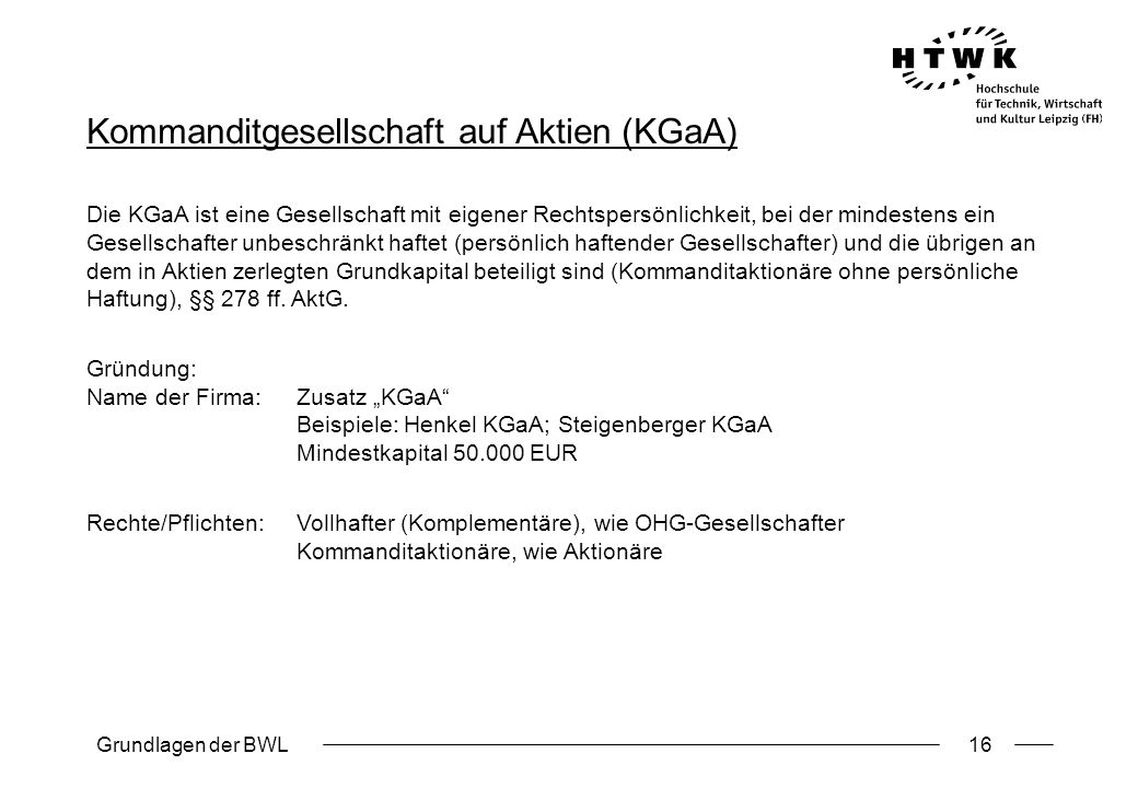 Kommanditgesellschaft auf Aktien (KGaA)