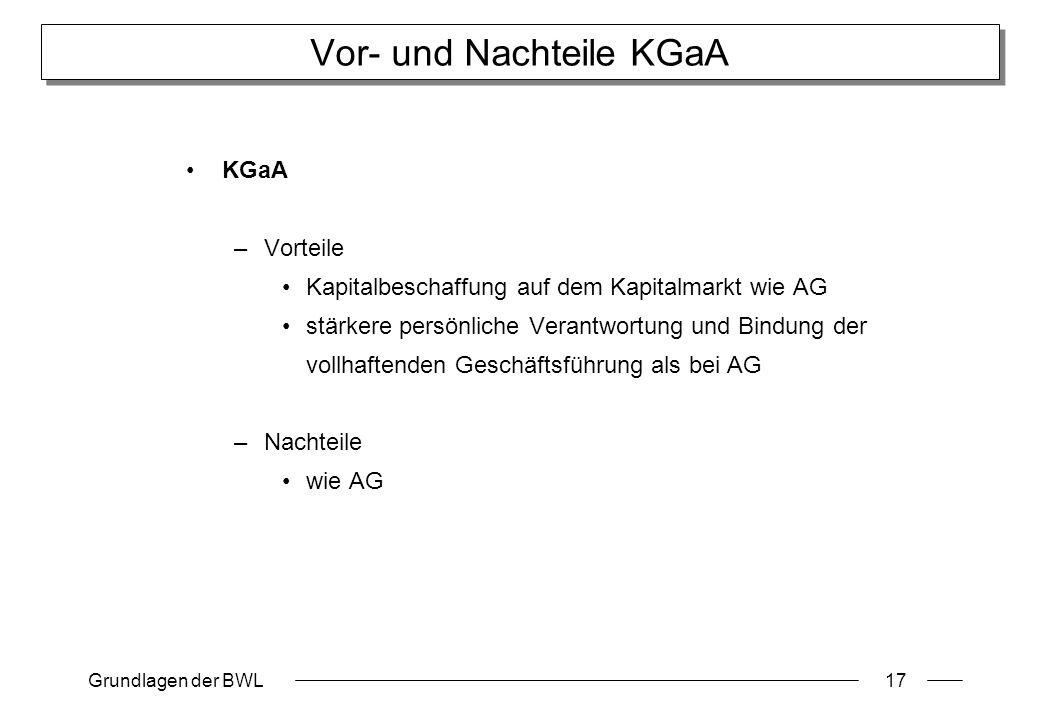 Vor- und Nachteile KGaA