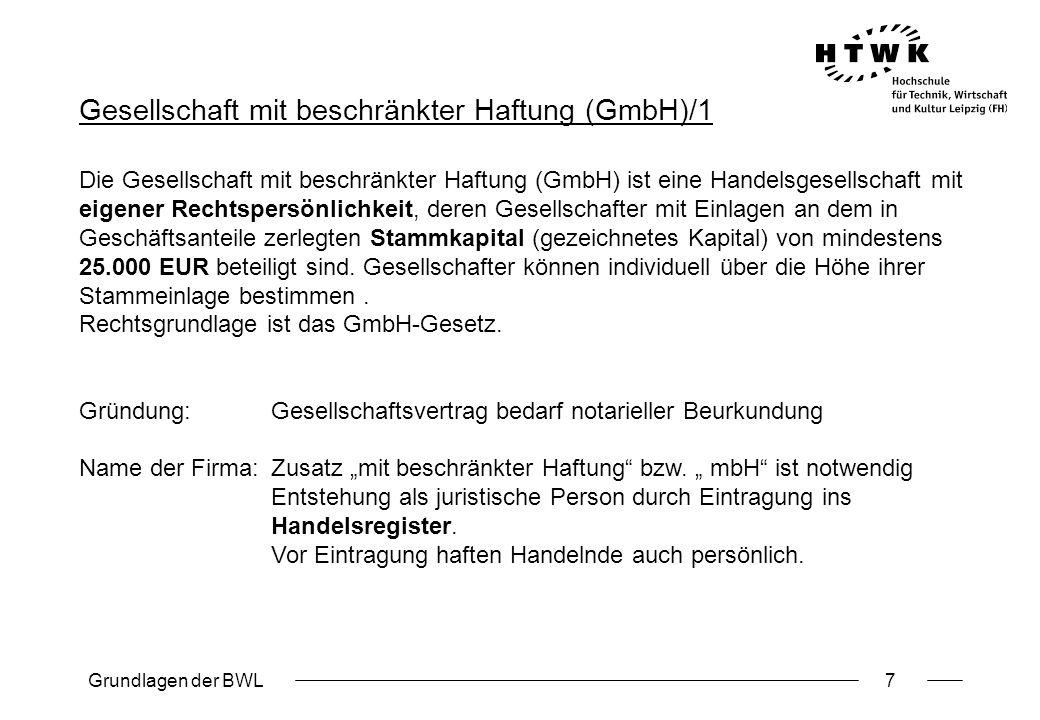 Gesellschaft mit beschränkter Haftung (GmbH)/1