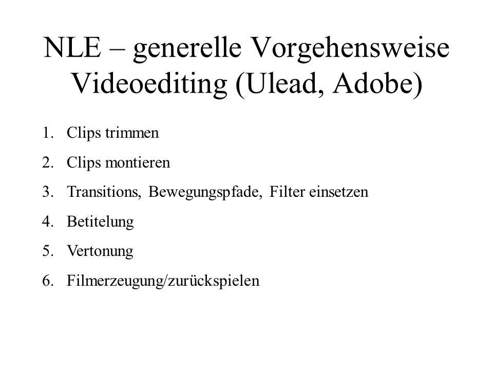 NLE – generelle Vorgehensweise Videoediting (Ulead, Adobe)