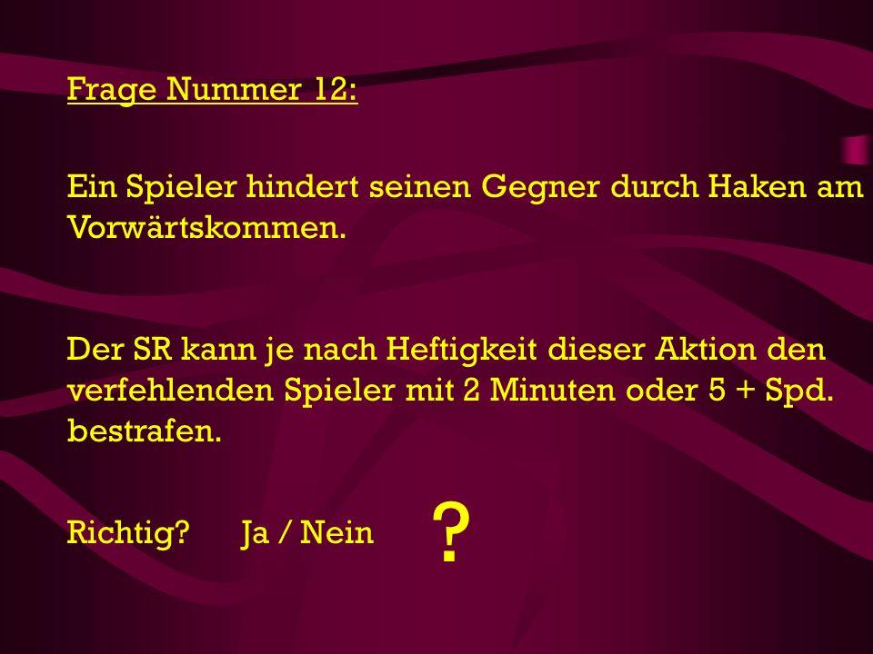 Frage Nummer 12: Ein Spieler hindert seinen Gegner durch Haken am Vorwärtskommen.