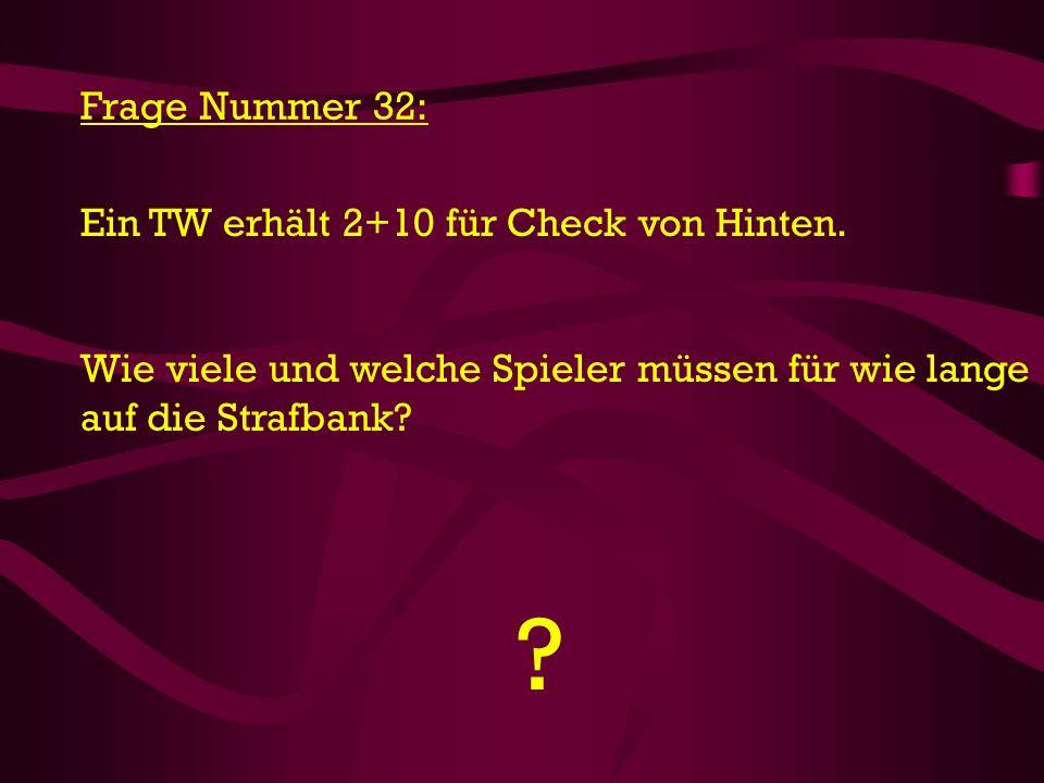 Frage Nummer 32: Ein TW erhält 2+10 für Check von Hinten.