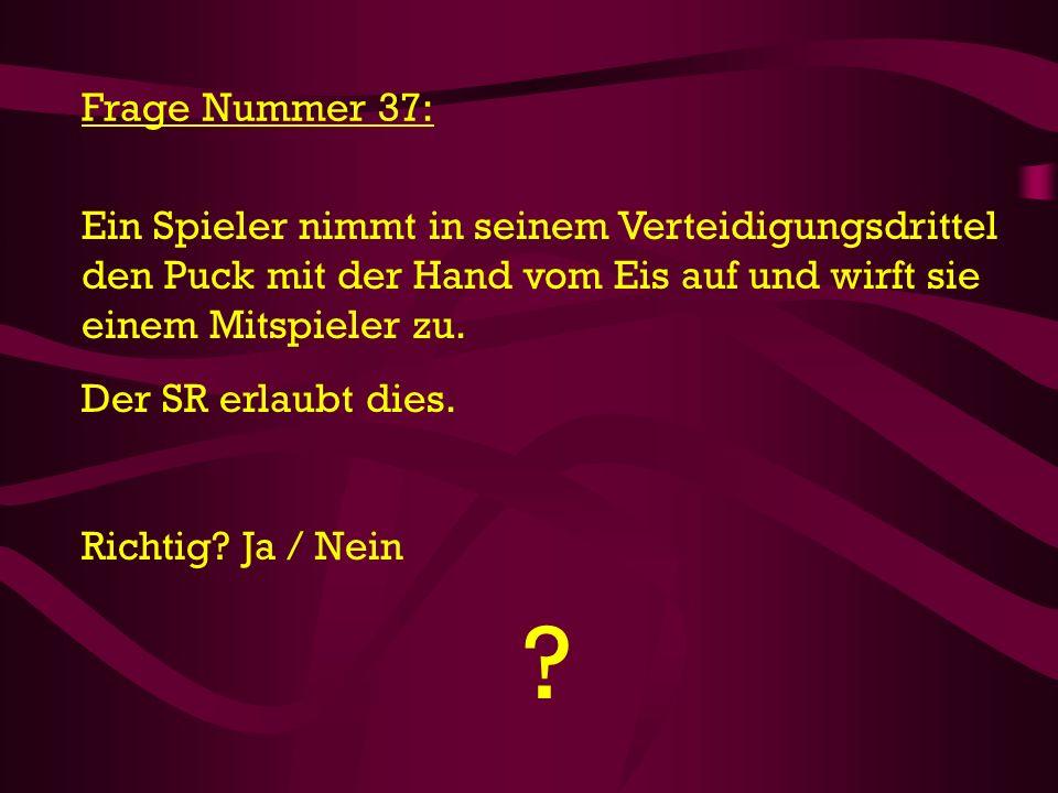 Frage Nummer 37: Ein Spieler nimmt in seinem Verteidigungsdrittel den Puck mit der Hand vom Eis auf und wirft sie einem Mitspieler zu.
