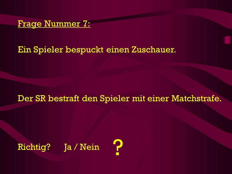 Frage Nummer 7: Ein Spieler bespuckt einen Zuschauer.