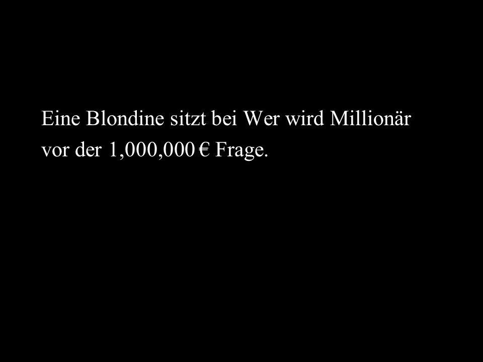 Eine Blondine sitzt bei Wer wird Millionär