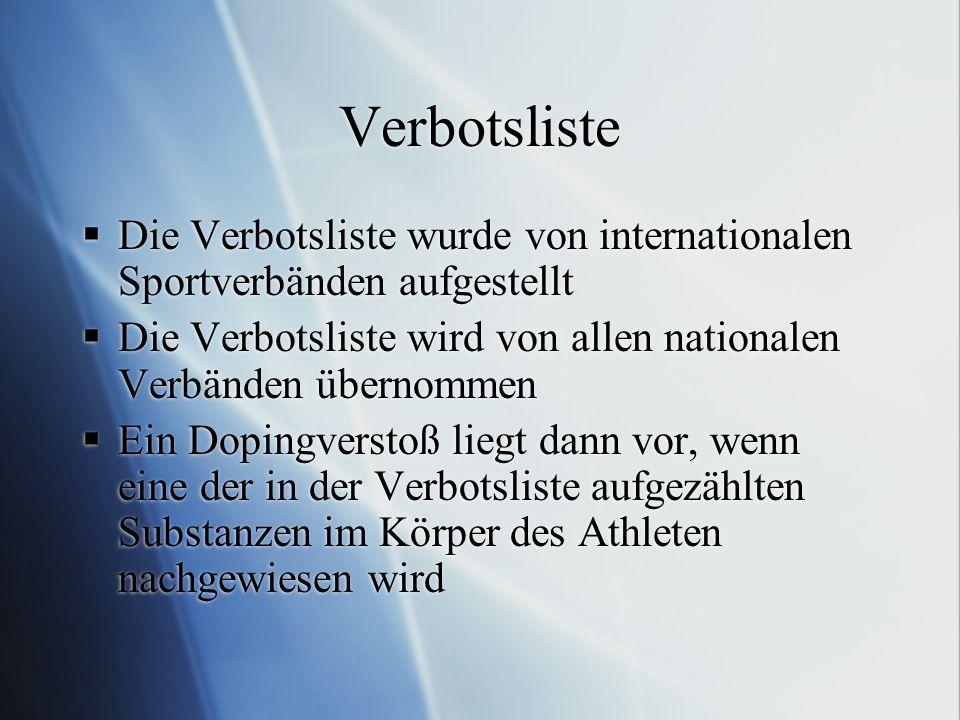 Verbotsliste Die Verbotsliste wurde von internationalen Sportverbänden aufgestellt. Die Verbotsliste wird von allen nationalen Verbänden übernommen.
